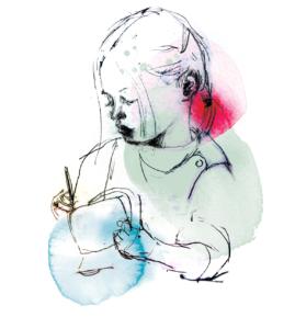 Vera målar en korg